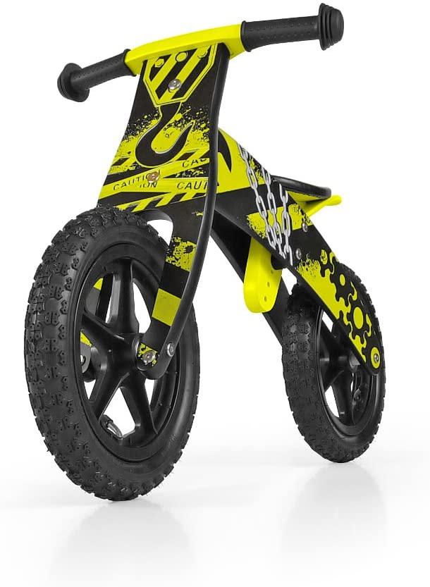 draisienne en bois imitation moto de couleur jaune