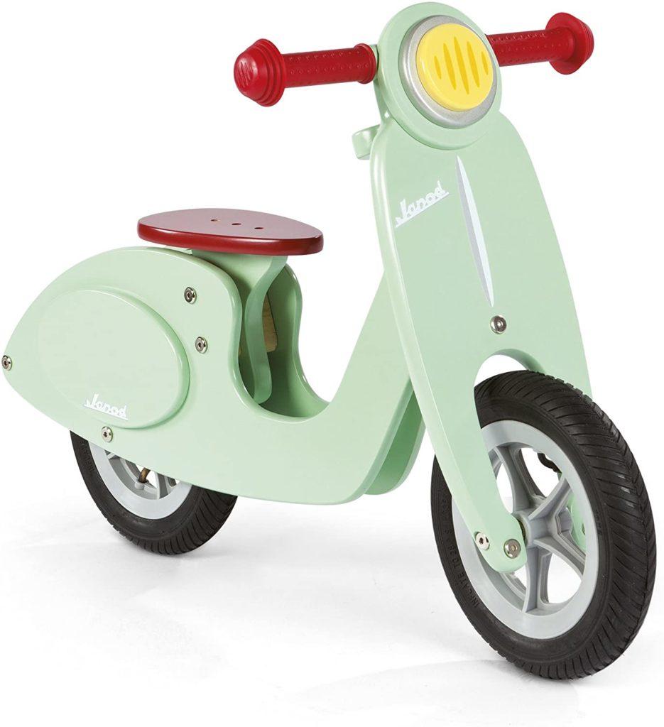 scooter vert en bois janod